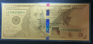 1 GRAM GOLD NOTE $100 BENJAMIN FRANKLIN DESIGN .999 FINE