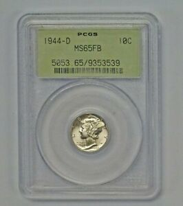 1944 D  MERCURY DIME PCGS MS65 FB  OLD GREEN HOLDER