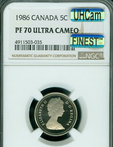 Click now to see the BUY IT NOW Price! 1986 CANADA  5 CENTS NGC PF70 UHCAM MAC FINEST GRADED MAC SPOTLESS