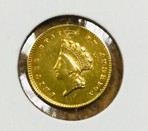 1855 INDIAN PRINCESS $1 GOLD TYPE 2  GENUINE REPAIRED