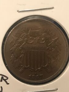 1867 US TWO 2 CENT PIECE UNCIRCULATED ERROR COIN  OFF CENT STRIKE   NICE FIND