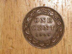 CANADA 1906 LARGE CENT COIN FINE NICE