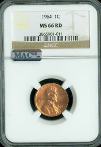 1964 LINCOLN CENT NGC MAC MS66 RED PQ 2ND FINEST SPOTLESS