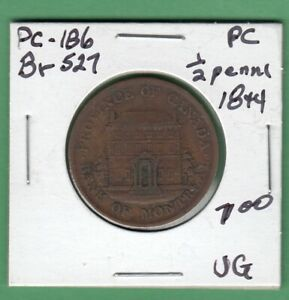 1844 BANK OF MONTREAL 1/2 PENNY TOKEN   BR527   VG