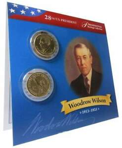2013 P&D $1 WOODROW WILSON PRESIDENTIAL 2 COIN SET LOT UNCIRCULATED BIFOLD