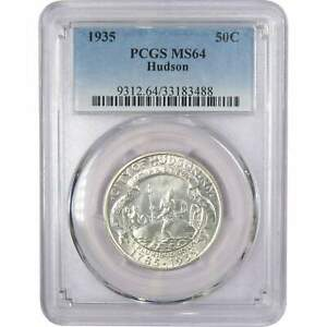 1935 50C HUDSON NEW YORK COMMEMORATIVE SILVER HALF DOLLAR US COIN MS 64 PCGS