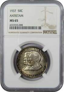 1937 50C BATTLE OF ANTIETAM COMMEMORATIVE SILVER HALF DOLLAR MS 65 NGC TONED