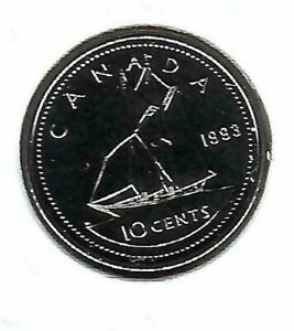 1993 CANADIAN PROOF LIKE SAIL BOAT TEN CENT CENT COIN