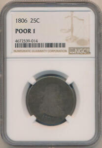 1806 DRAPED BUST QUARTER NGC POOR 1
