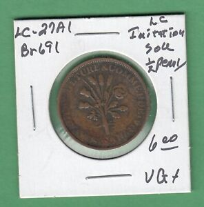 LOWER CANADA IMITATION SOU 1/2 PENNY TOKEN   LC 27A1   VG