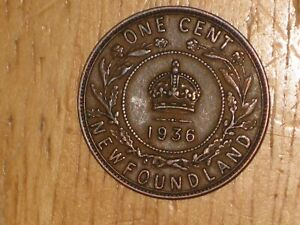 NEWFOUNDLAND 1936 LARGE CENT COIN FINE NICE