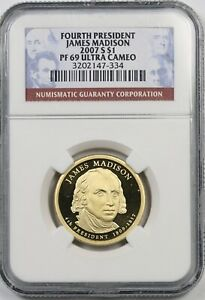 2007 S JAMES MADISON $1 NGC PF 69 ULTRA CAMEO PRESIDENTIAL DOLLAR