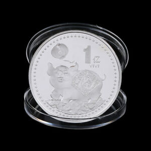 PIG COMMEMORATIVE COIN CHINESE ZODIAC SILVER PLATED LUCKY COIN NEW YEAR GIFTPVEC