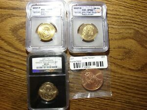 LOT OF 4 2007 P D J MADISON ICG SP69 SATIN FIN. COINS   DOLLEY SPOUSE MEDAL OBO
