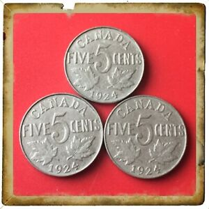 LOT OF 3 1924 CANADA FIVE CENTS CANADIAN NICKELS COINS 1648