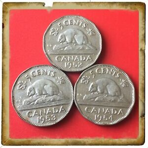 1952 1953 1954  CANADA FIVE CENTS CANADIAN NICKELS  COINS 1651