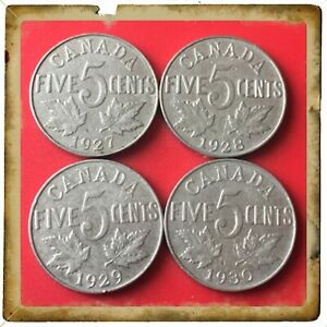 1927 1928 1929 1930 CANADA FIVE CENTS CANADIAN NICKEL COINS 1652