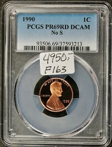 Click now to see the BUY IT NOW Price! 1990 LINCOLN HEAD CENT.  NO S.  IN PCGS HOLDER.  PR69 RED DCAM.  F163