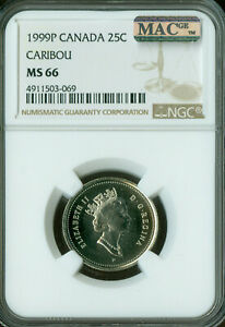 1999 P TEST CANADA 25 CENTS NGC MAC MS66 PQ SPOTLESS