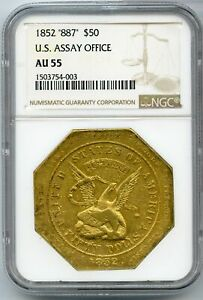 Click now to see the BUY IT NOW Price! 1852 $50 GOLD 887 US ASSAY OFFICE NGC AU55 TERRITORIAL GOLD SLUG   JC833