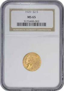 Click now to see the BUY IT NOW Price! 1929 $2.50 GOLD INDIAN MS65 NGC