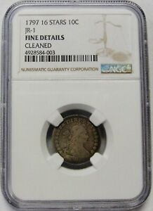 Click now to see the BUY IT NOW Price! 1797 16 STARS DRAPED BUST SMALL EAGLE DIME NGC GRADED FINE DETAILS CLEANED  JR 1