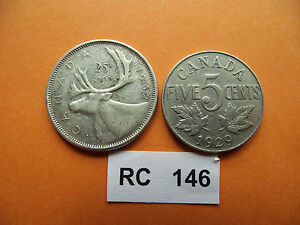 CANADA. 2 COINS: 5 CENTS  1929    25 CENTS  1962 RC146