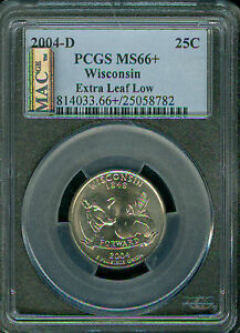 Click now to see the BUY IT NOW Price! 2004 D WISCONSIN LOW LEAF QUARTER PCGS MS66   PQ MAC 2ND FINEST REGISTRY POP  2