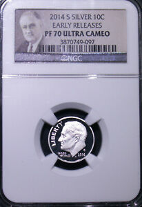 2014 S ROOSEVELT SILVER 10C DIME PF 70 ULTRA CAMEO