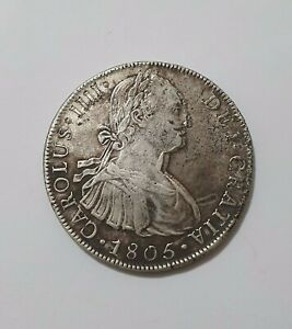 LIMA 1805 J.P 8 REALES CHARLES IIII 8R SILVER COIN DOUBLE MINT ERROR ? 26.02G RR