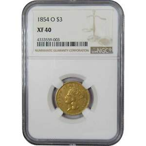 1854 O $3 INDIAN PRINCESS HEAD GOLD THREE DOLLAR PIECE COIN XF 40 NGC