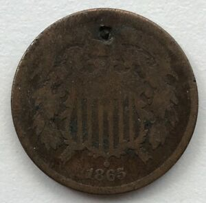 1865 2 CENT PIECE HOLED CCC263