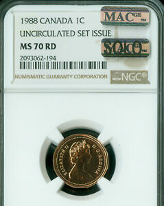 Click now to see the BUY IT NOW Price! 1988 CANADA CENT NGC MS70 MAC SOLO FINEST GRADED SPOTLESS 1 IN A 10 000