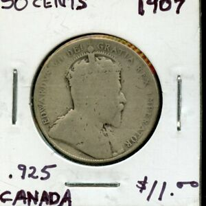 1907 CANADA 50 CENTS SILVER COIN  FK789