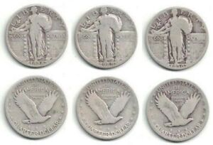 1928 1929 AND 1930 SILVER STANDING LIBERTY QUARTERS IN CIRCULATED CONDITION