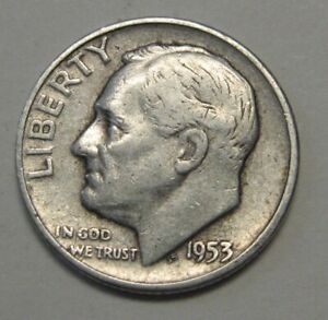 1953 S SILVER ROOSEVELT DIME GRADING IN AVERAGE CIRCULATED CONDITION FREE S&H