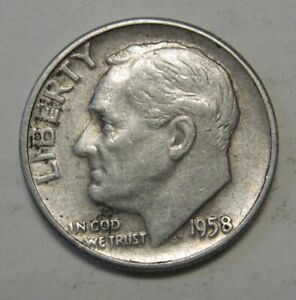 1958 D SILVER ROOSEVELT DIME GRADING IN AVERAGE CIRCULATED CONDITION FREE S&H