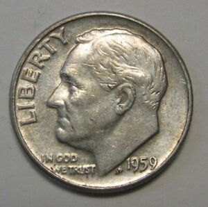 1959 SILVER ROOSEVELT DIME GRADING IN AVERAGE CIRCULATED CONDITION FREE S&H