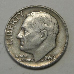 1959 D SILVER ROOSEVELT DIME GRADING IN AVERAGE CIRCULATED CONDITION FREE S&H