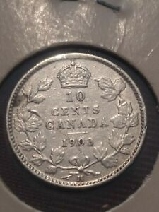 CANADA SILVER 10 CENTS DIME 1903 H VARIETY VF EF.  LOT 2