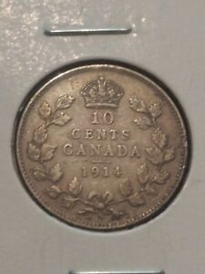 CANADA SILVER 10 CENTS DIME 1914 GREAT DEALS VF