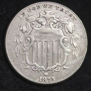 1875 SHIELD NICKEL CHOICE XF /AU  E118 RBT