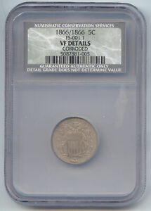 1866 SHIELD NICKEL 11888866 VARIETY FS 001.1 REPUNCHED DATE NCS  NGC  VF DETAILS