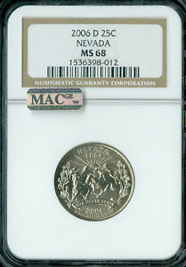 Click now to see the BUY IT NOW Price! 2006 D NEVADA QUARTER NGC MAC MS68 PQ FINEST BUSINESS  POP 13 SPOTLESS