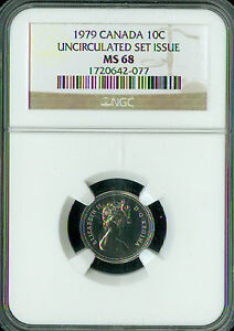 1979 CANADA 10 CENTS NGC MS68 2ND FINEST REGISTRY SPOTLESS