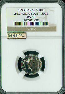 Click now to see the BUY IT NOW Price! 1993 CANADA 10 CENTS NGC MAC MS68 PQ 2ND FINEST REGISTRY SPOTLESS