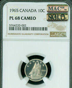 Click now to see the BUY IT NOW Price! 1965 CANADA 10 CENTS NGC MAC MS68 PL CAMEO PQ SOLO FINEST GRADE MAC SPOTLESS