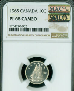 Click now to see the BUY IT NOW Price! 1965 CANADA 10 CENTS NGC MS68 PL CAMEO PQ MAC SOLO FINEST GRADE MAC SPOTLESS