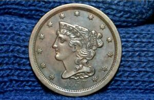 1857 HALF CENT   UNC    NICE BROWN  TAKE 10  OFF RIGHT NOW