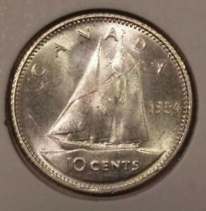 CANADA SILVER 10 CENTS DIME 1954 MS 64